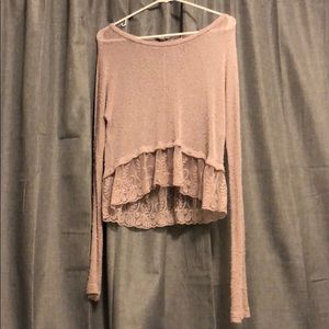 American Eagle pink knit and lace long sleeve